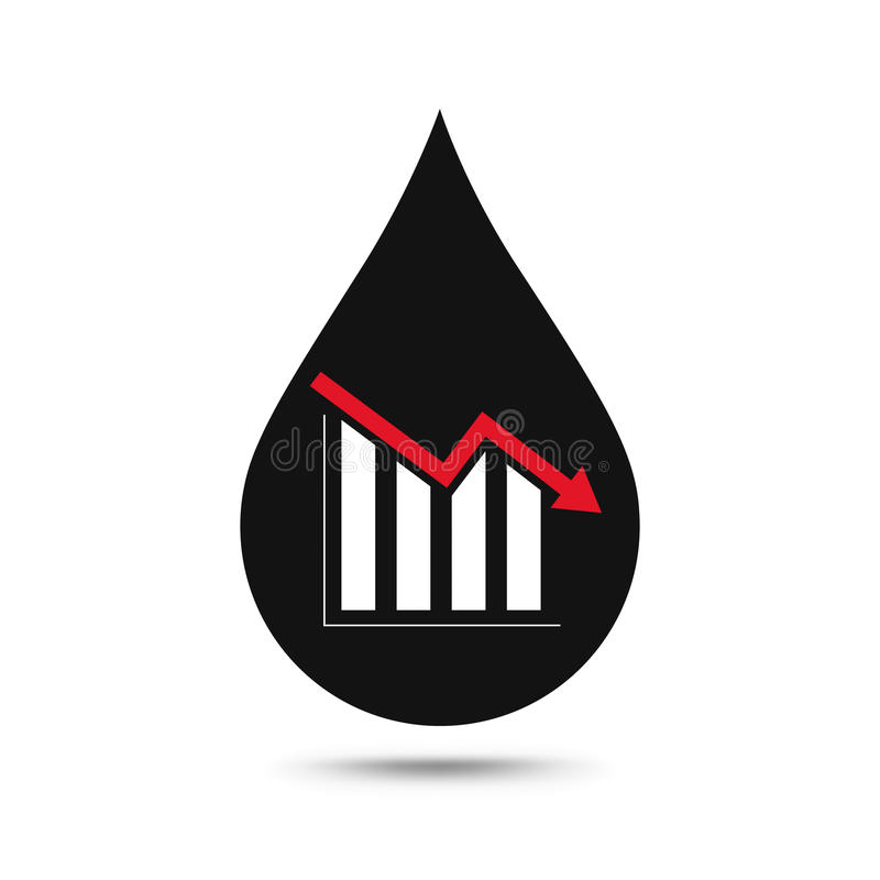 Oil industry concept. Oil price falling down graph with oil drop vector illustration