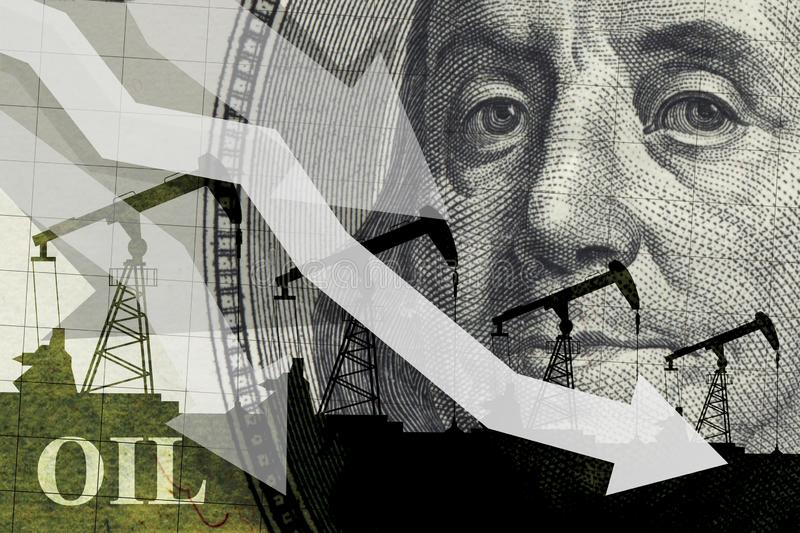 Oil industry crisis concept. Drop in oil prices. Oil stock crisis. Oil price falling down graph royalty free illustration