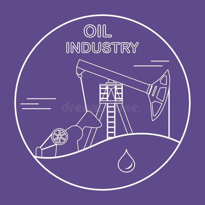 Oil industry equipment Pumpjack Vector. Vector illustration with equipment for oil production. Oil industry. Working oil pump stock illustration