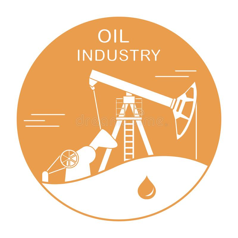 Oil industry equipment Pumpjack Vector. Vector illustration with equipment for oil production. Oil industry. Working oil pump royalty free illustration