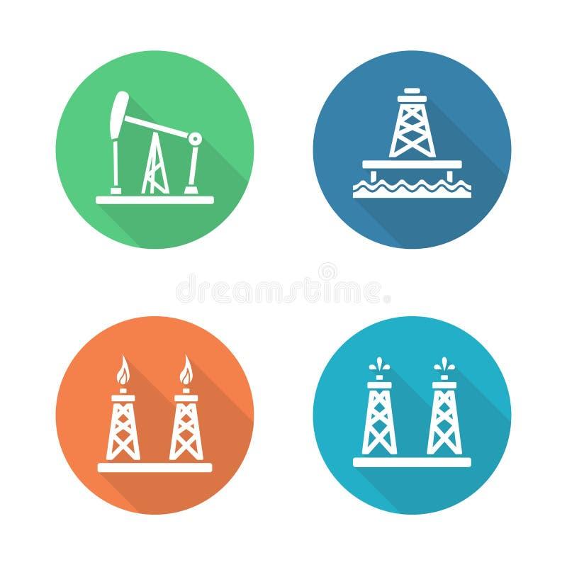 Oil industry flat design icons set vector illustration