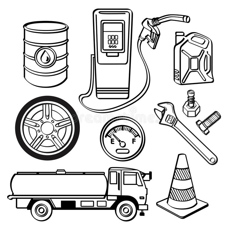 Oil industry Icon Set stock illustration