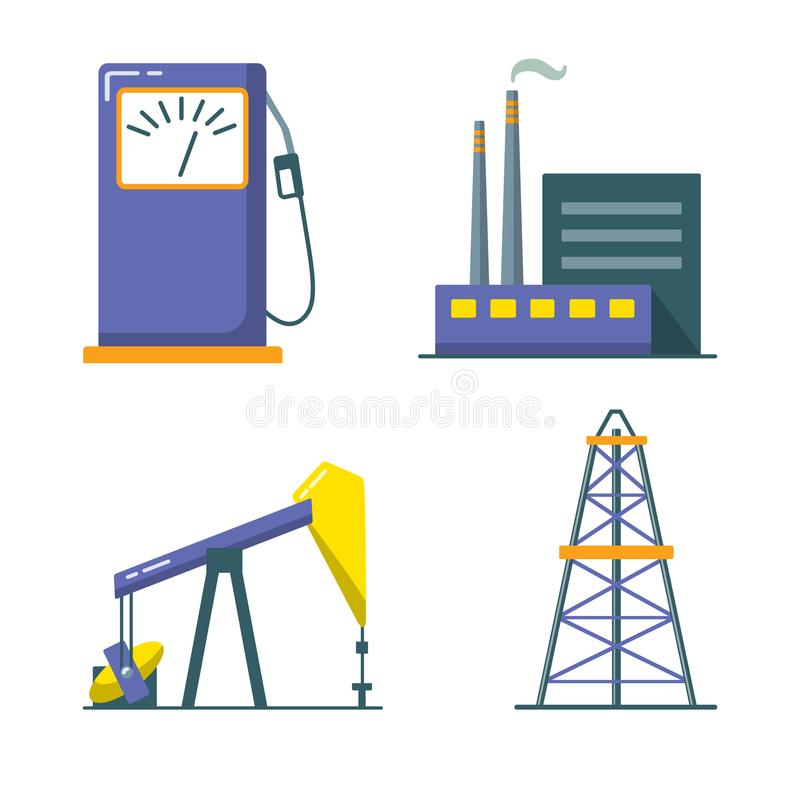 Oil industry icon set in flat style. Exploration and production symbols isolated on white vector illustration
