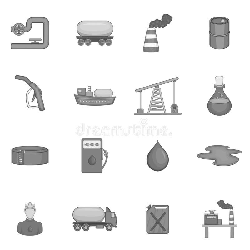 Oil industry icons set, black monochrome style. Oil industry icons set in black monochrome style. Oil gas production set collection illustration royalty free illustration