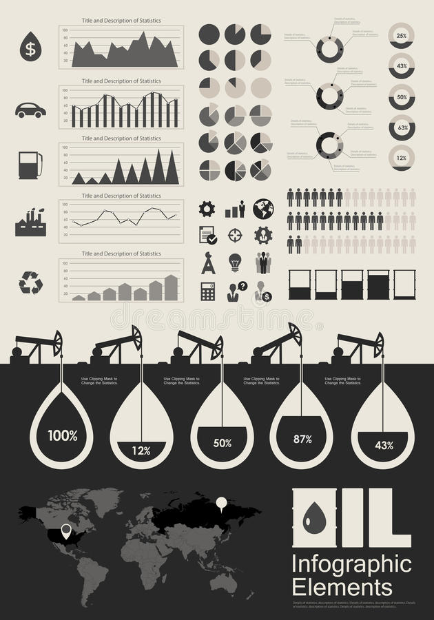 Oil Industry Infographic Elements stock illustration