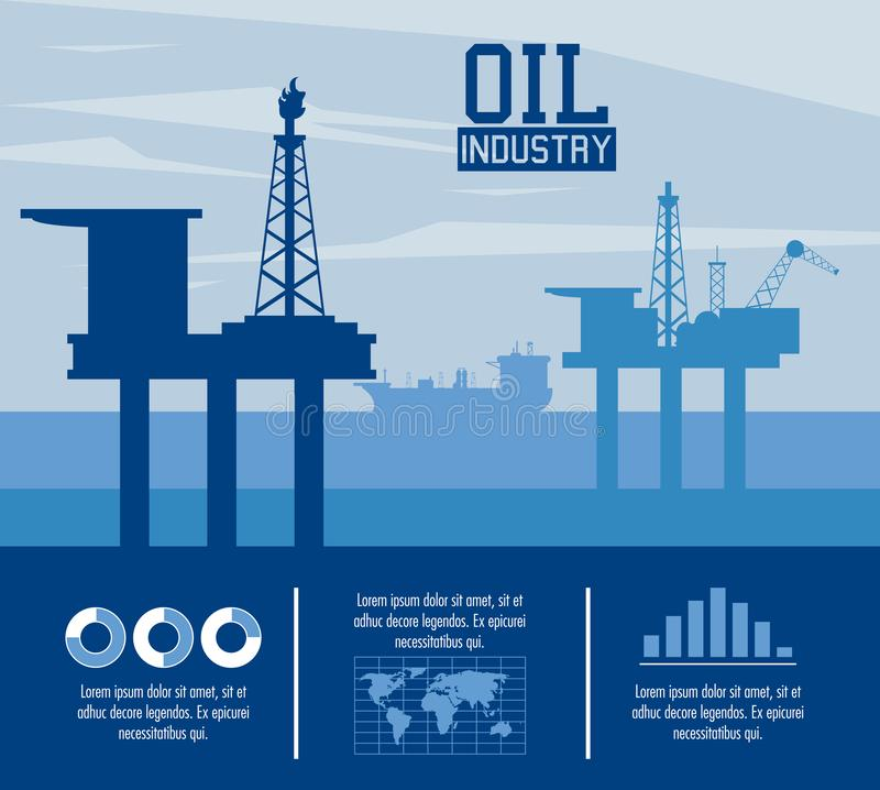 Oil industry infographic. With elements and statistics vector illustration graphic design stock illustration