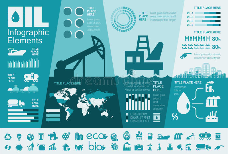 Oil Industry Infographic Template stock illustration