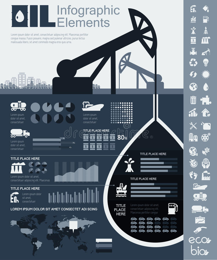 Oil Industry Infographic Template royalty free illustration