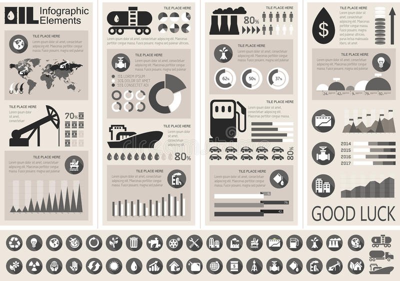 Oil Industry Infographic Template vector illustration