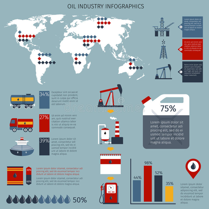 Oil Industry Infographics. Set with fuel shipping refinery and drilling charts and world map vector illustration stock illustration