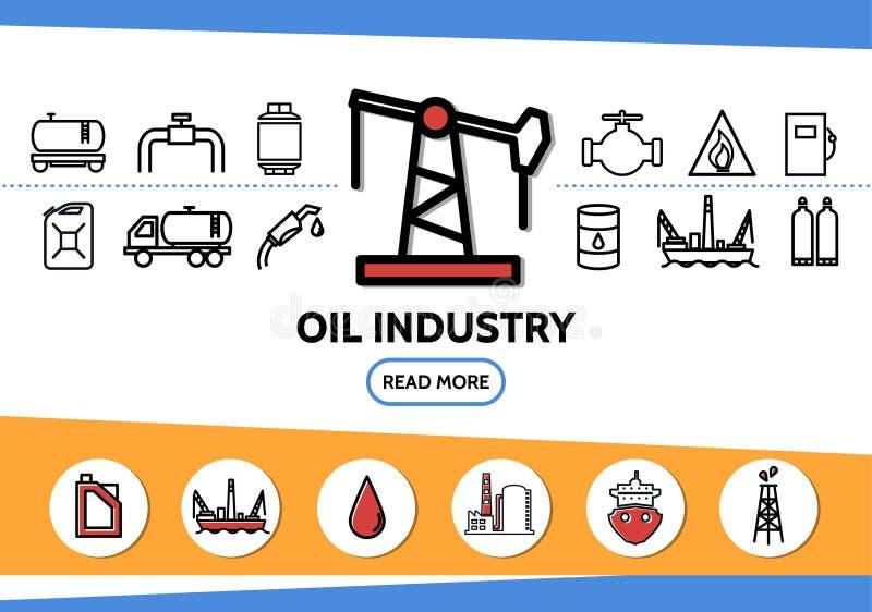 Oil Industry Line Icons Set. With drilling rig tanker pipe valve fuel gun dispenser derrick canister truck platform factory isolated vector illustration royalty free illustration