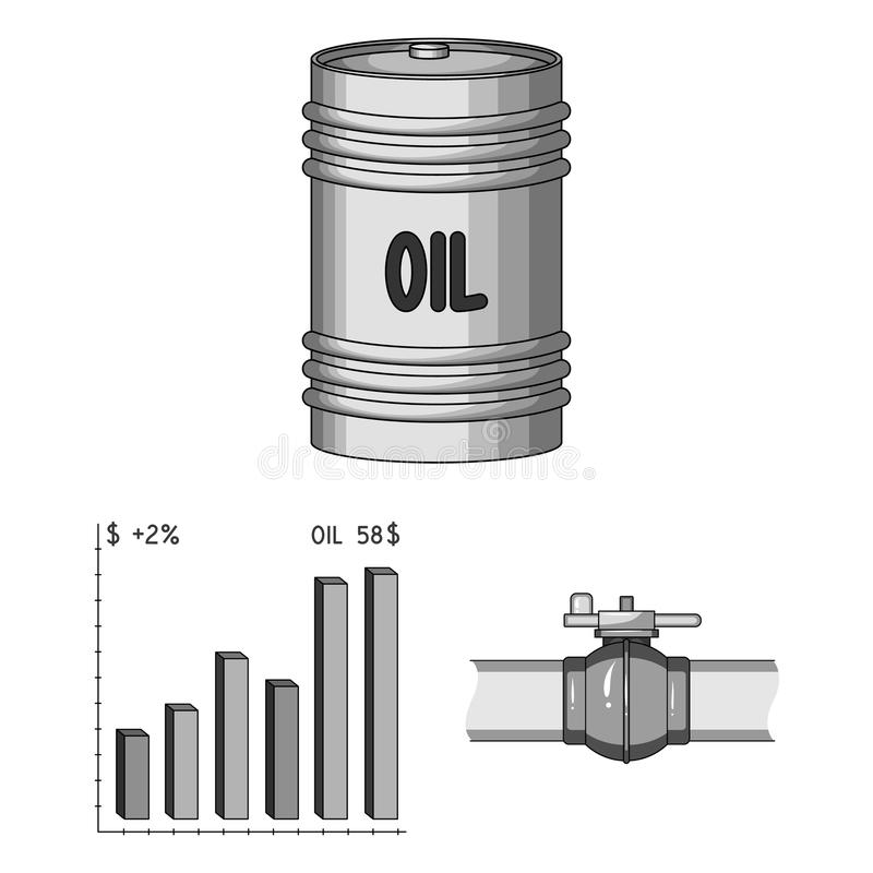 Oil industry monochrome icons in set collection for design. Equipment and oil production vector symbol stock web. Oil industry monochrome icons in set collection vector illustration