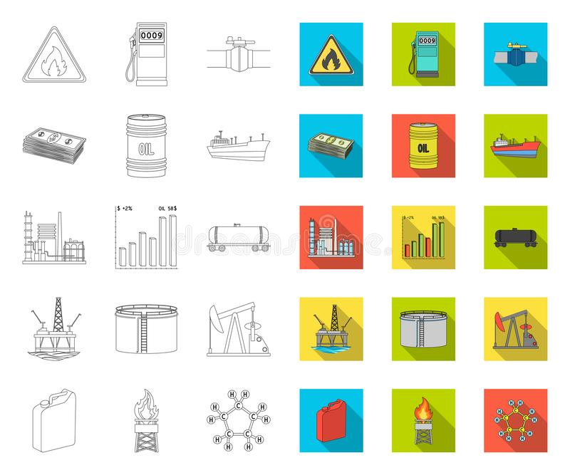 Oil industry outline,flat icons in set collection for design. Equipment and oil production vector symbol stock web royalty free illustration