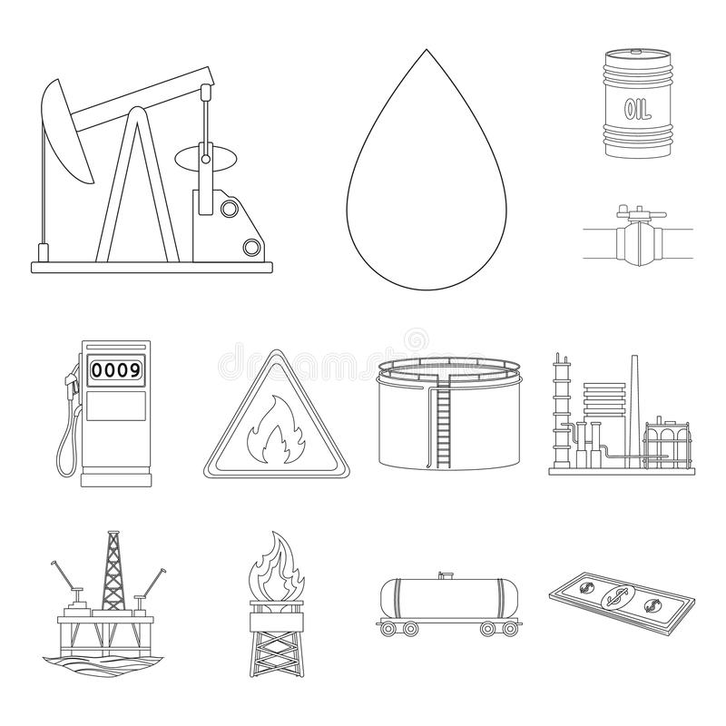 Oil industry outline icons in set collection for design. Equipment and oil production vector symbol stock web. Oil industry outline icons in set collection for stock illustration