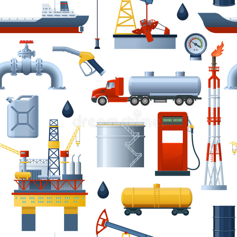Oil Industry Pattern. Oil industry decorative symbols pattern with isolated decorative industrial elements tubes trucks ships and platforms flat vector stock illustration