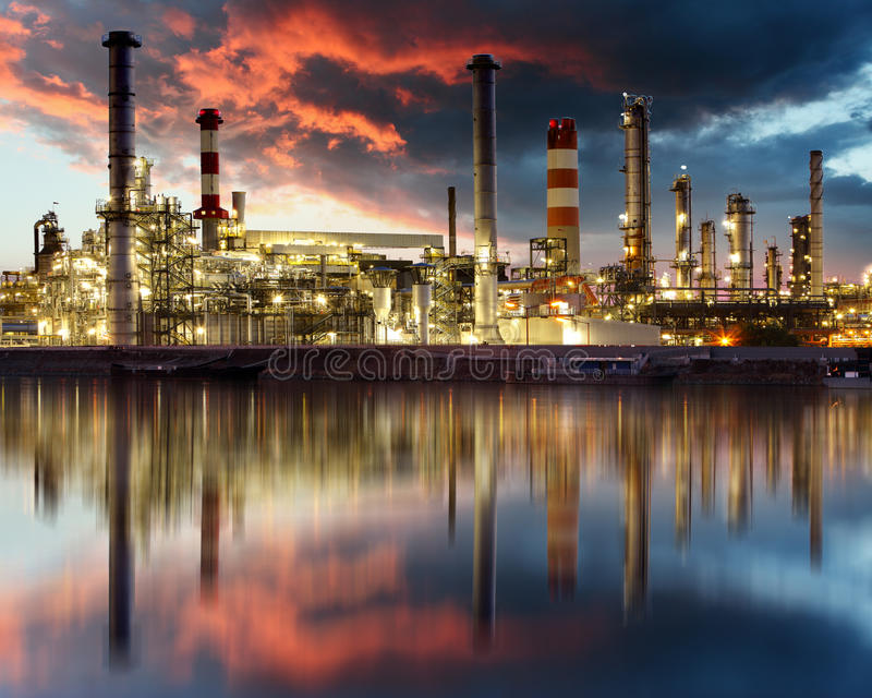 Oil Industry - refinery factory. Atž sunset royalty free stock photos