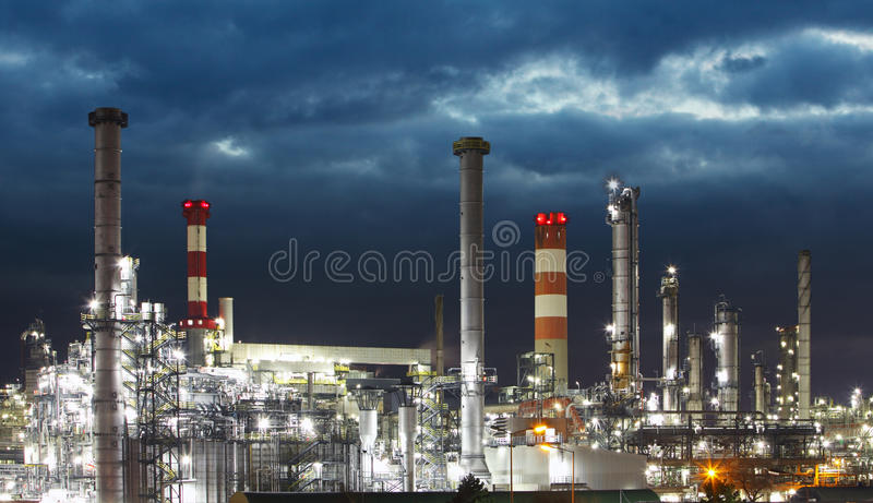 Oil Industry - refinery factory. At night royalty free stock photos
