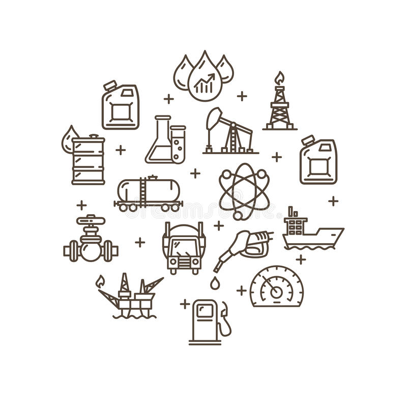 Oil Industry Round Design Template Outline Icon Set. Vector royalty free illustration
