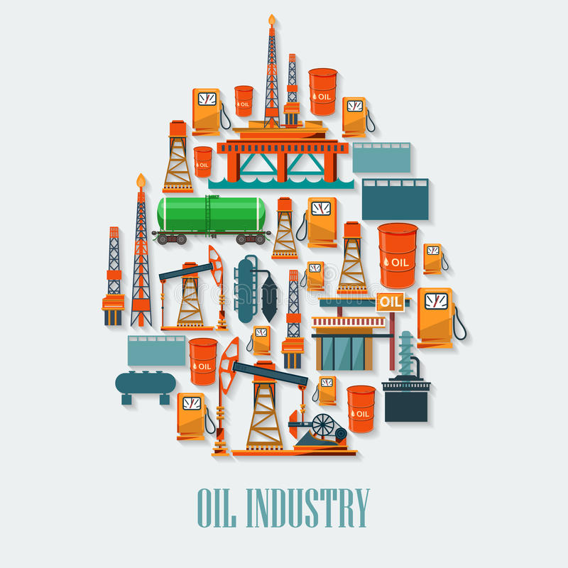 Oil industry set with extraction refinery transportation petroleum royalty free illustration