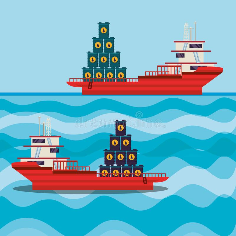Oil industry with ship freighter. Vector illustration design vector illustration