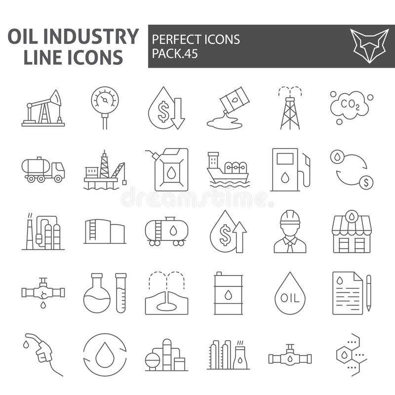 Oil industry thin line icon set, fuel production symbols collection, vector sketches, logo illustrations, nature vector illustration
