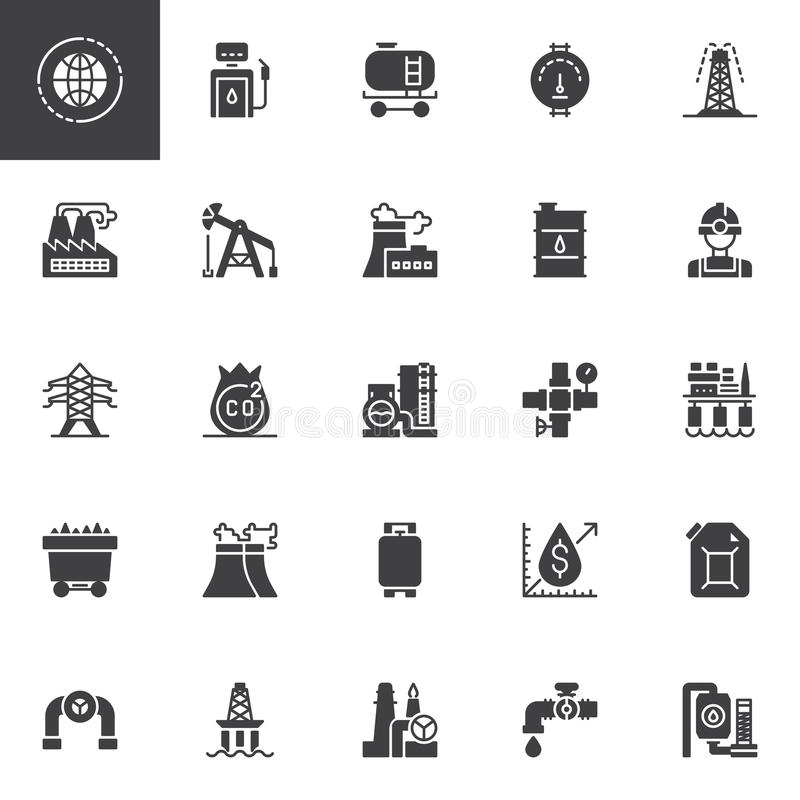Oil industry vector icons set vector illustration