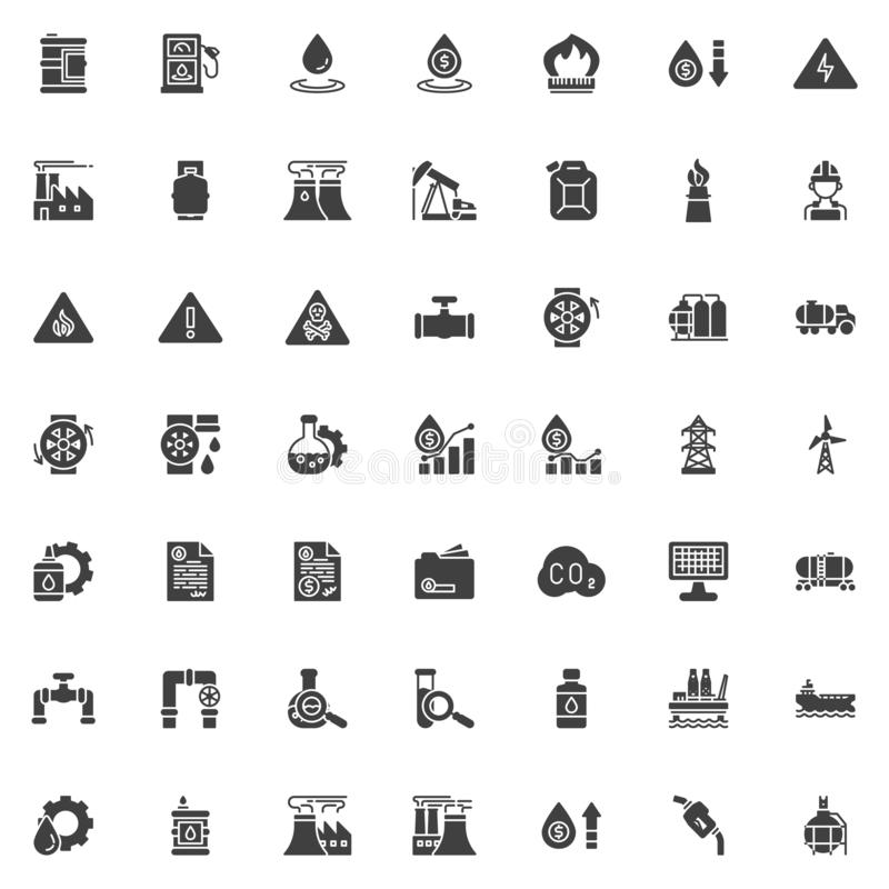 Oil industry vector icons set stock illustration
