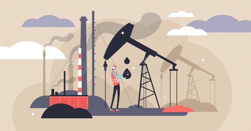 Oil industry vector illustration. Flat tiny fuel mining persons concept. stock illustration