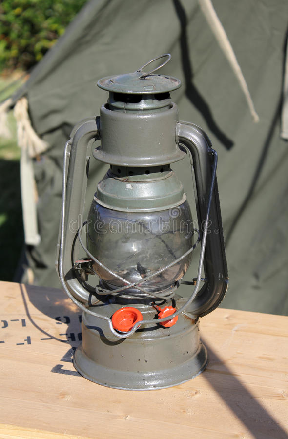 Oil lamp. Used during the world war II stock photos