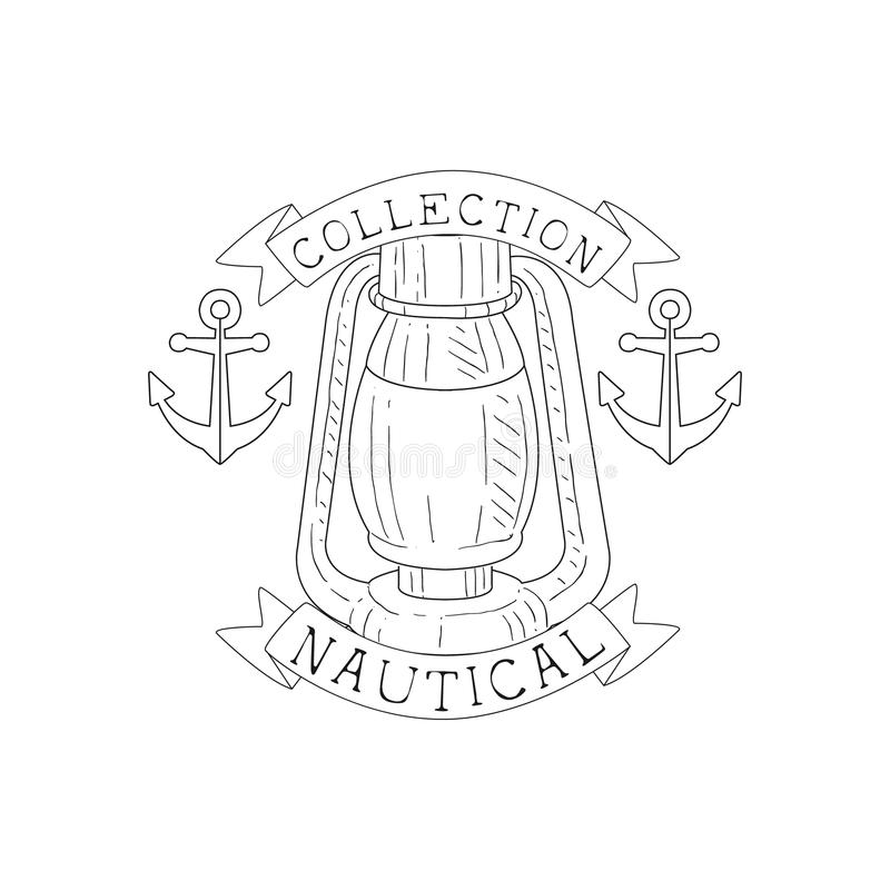 Oil Lamp And Anchors Vintage Sea And Nautical Symbol Hand Drawn Sketch Label Template. Part Of Marine Emblem Collection Of Artistic Retro Vector Illustrations vector illustration
