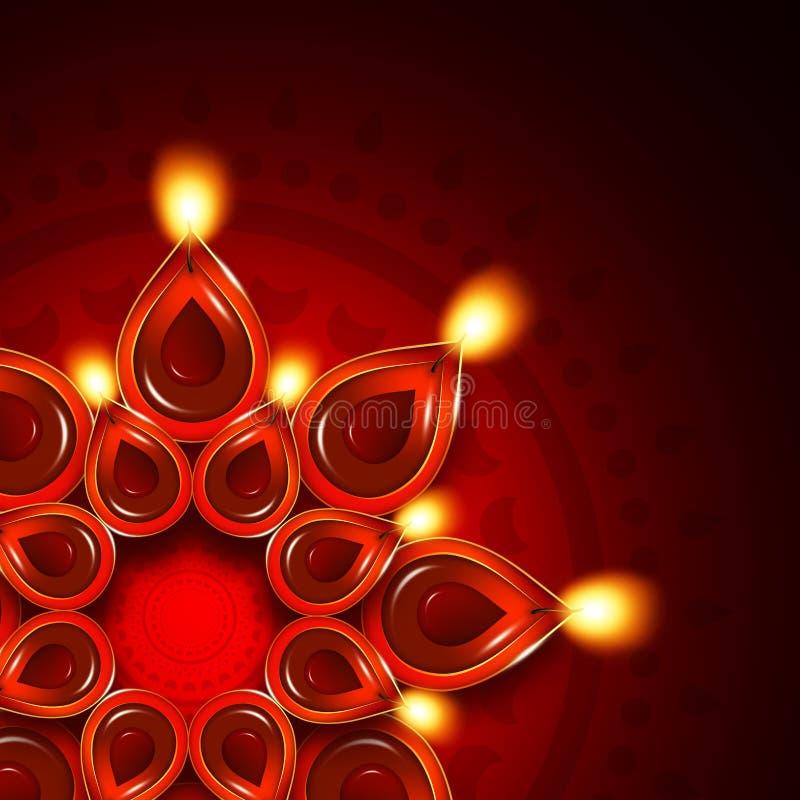 Oil lamp with diwali diya elements over dark background. Oil lamp with diwali diya elements over dark red background vector illustration