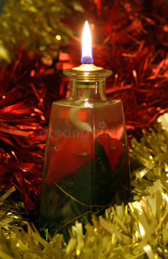 Download Oil Lamp & Tinsel stock image. Image of glass, wick, xmas - 49941