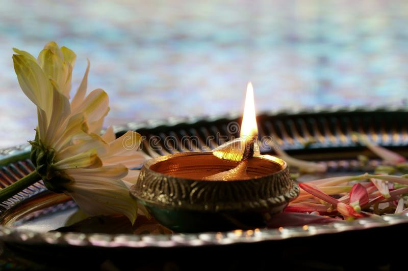 Oil lamps for Diwali, a festival of lights royalty free stock photography