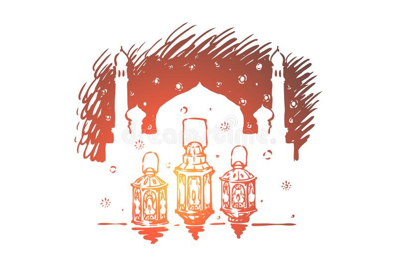 Oil lamps outside mosque, festive lanterns, arab culture and architecture, muslim religion, traditional islamic holiday royalty free illustration