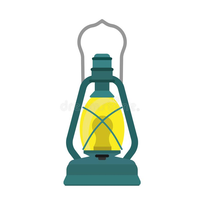 Oil lantern lamp design decoration equipment fuel. Bright aged camp light vintage vector icon. Kerosene night fire.  royalty free illustration