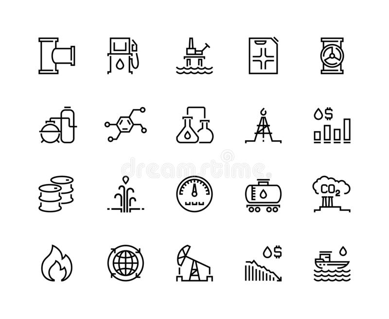 Oil line icons. Gas fuel station, chemical industry petrol tank, petroleum refinery factory, oil rig drill platform vector illustration