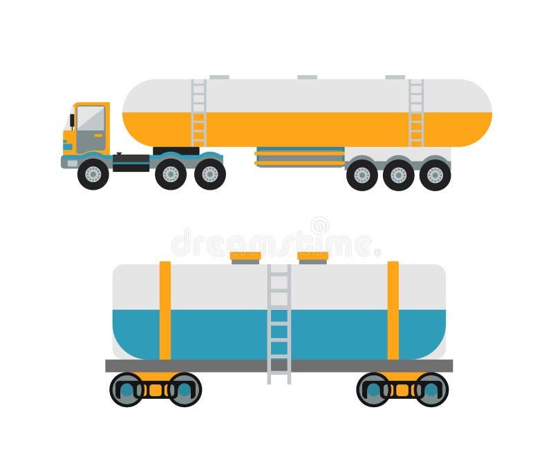 Oil logistic petroleum transportation, tank car, tanker metal barrel flat vector illustration. stock illustration