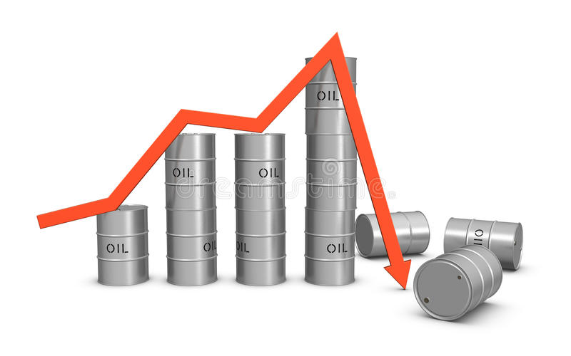Oil market crash. Isolated on the white background stock illustration