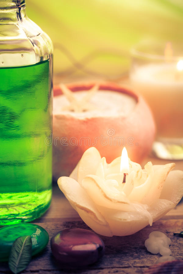 Oil massage aromatic candles stones Zen royalty free stock photo
