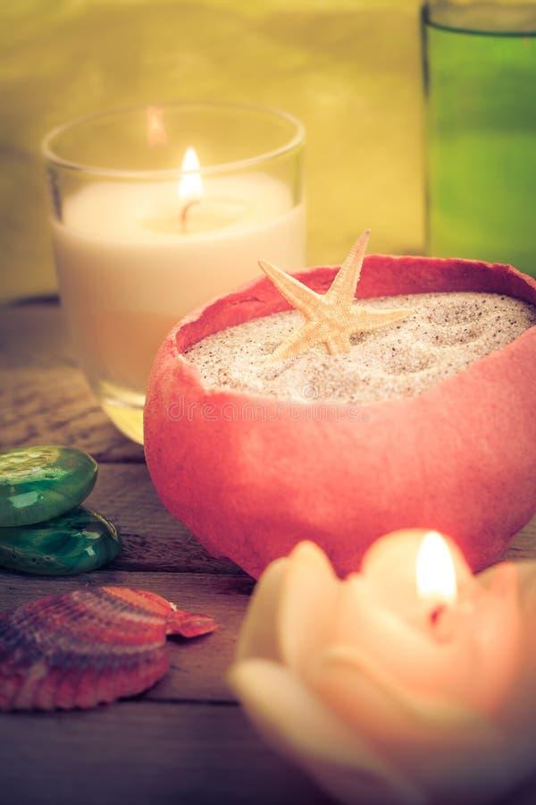 Oil massage aromatic candles stones Zen stock photos