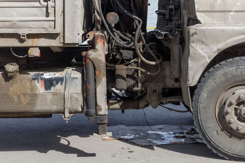 Oil and mud contaminated truck engine and transmission.  stock photography
