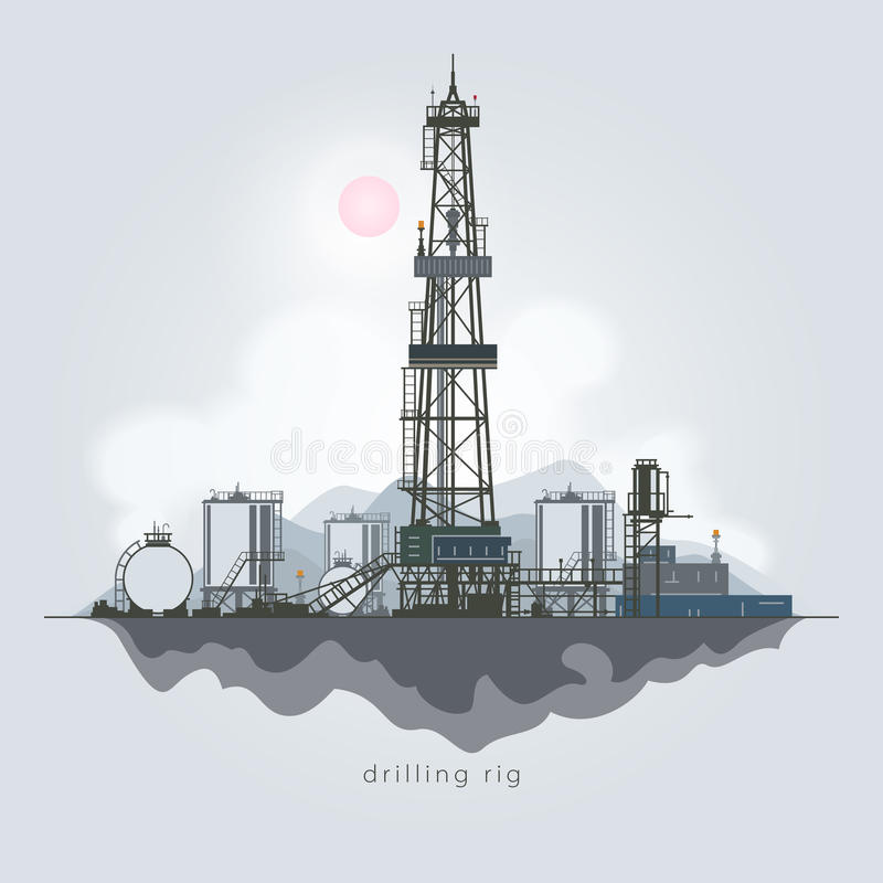 Oil or Natural Gas Drilling Rigs. Drilling Rig in the Background of Mountains, Oil Rig, Oil Well Drilling, Oil or Natural Gas Drilling Rigs with Outbuildings and stock illustration