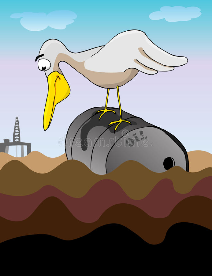 Oil Oil Everywhere. A large bird perched on a dented steel barrel gazes into an oil-coated ocean for a meal. Behind is a drilling platform royalty free illustration