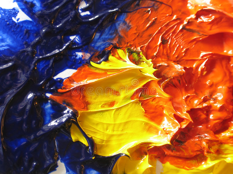 Oil paint. Artist's oil pain in primary colors