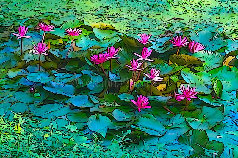 Oil paint of red water lily, artistic image royalty free stock photography