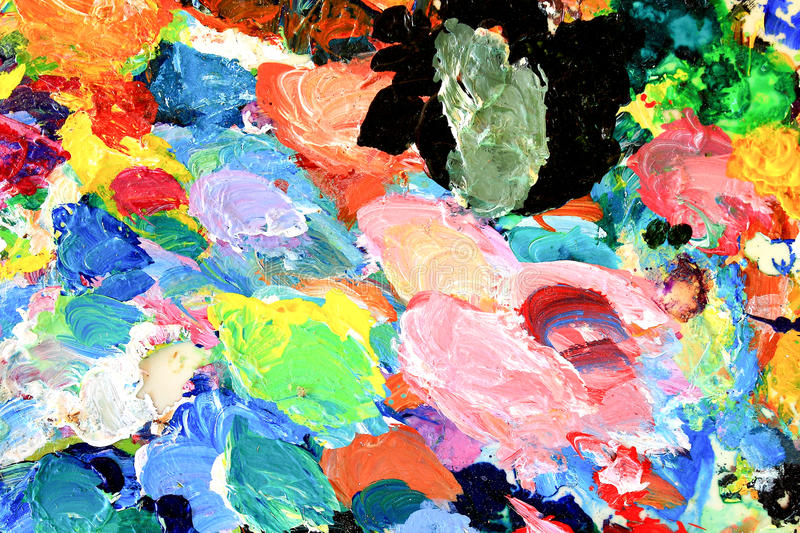 Oil-paint palette. Used in the operation of the oil paint artist's palette stock photo