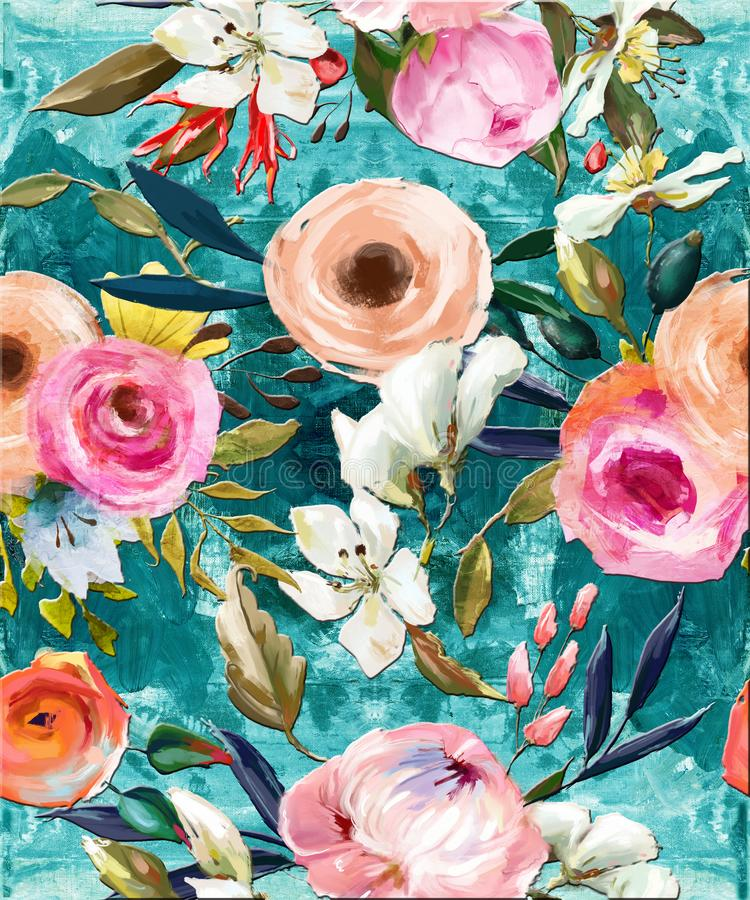 Oil painted seamless floral pattern royalty free illustration