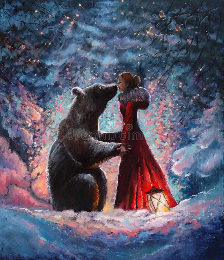 Oil paintein on canvas A girl in the red dress hugging and kissing a real brown big bear in the picturesque winter forest . vector illustration