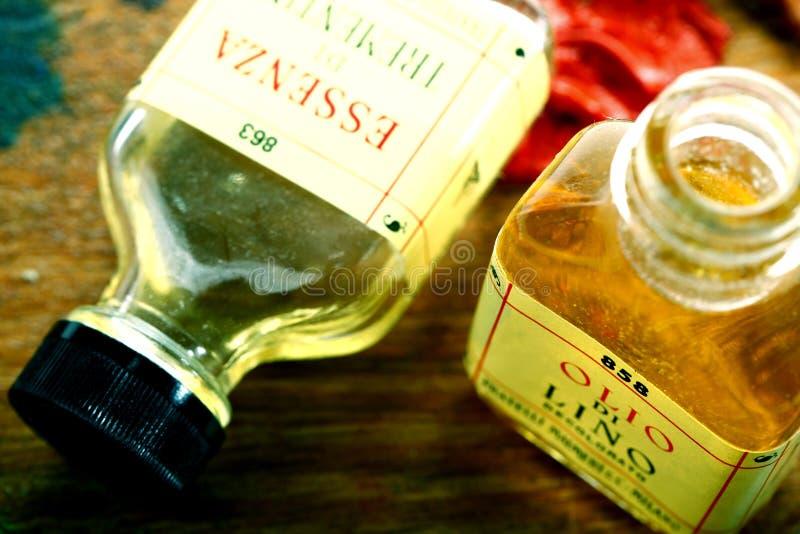 Oil painter`s oil little bottle stock photos