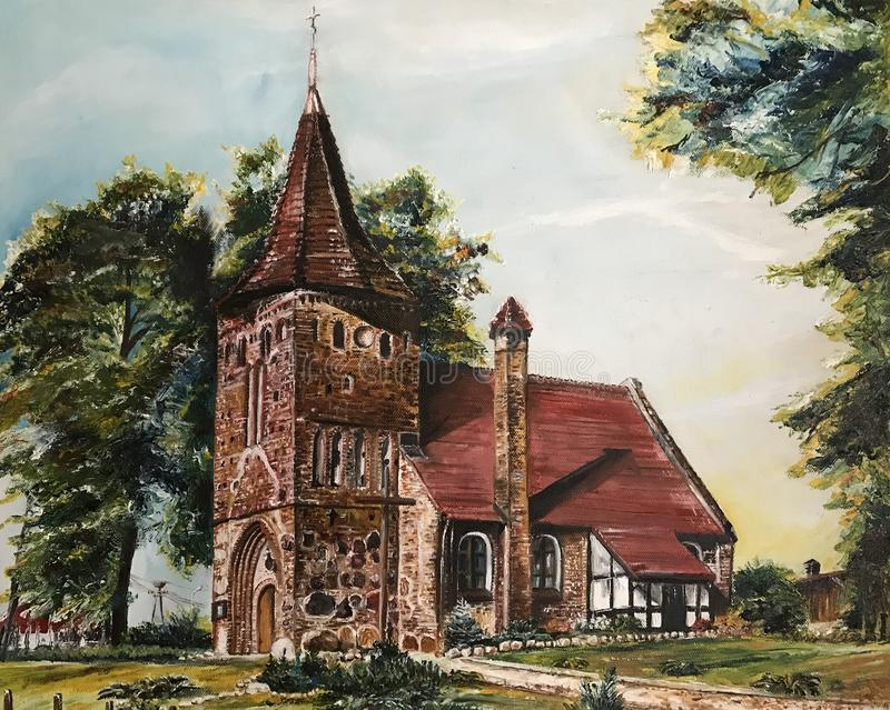 Oil paintiing of a small church in Poland. An oil painting of a small church in Poland. Old religious building in Polish countryside. Catholic building abstract stock illustration